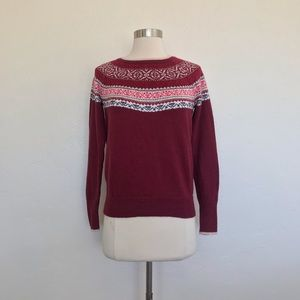 Hollister Maroon Fair Isle Print Sweater Size XS